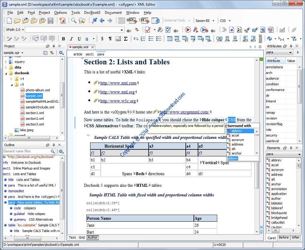 Oxygen XML Editor v19.1.2018022209 x86/x64 Crack